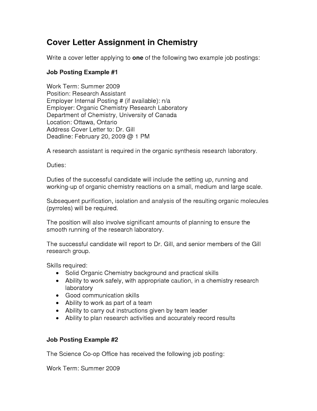 Cover Letter Writing Assignment – NIWE