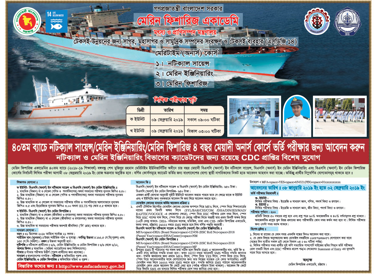 Marine Fisheries Academy 40th Batch Admission Circular 2018-2019