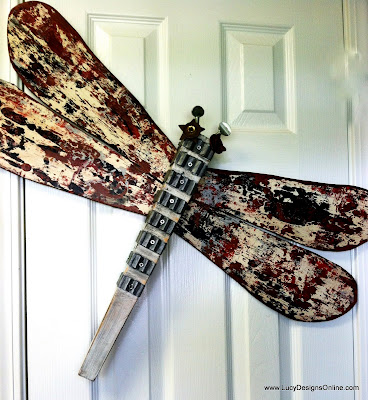 metal brick ties dragonfly mixed media art