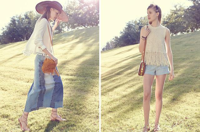 Образы в стиле бохо с бахромой и помпонами и джинсовой юбкой для натурала