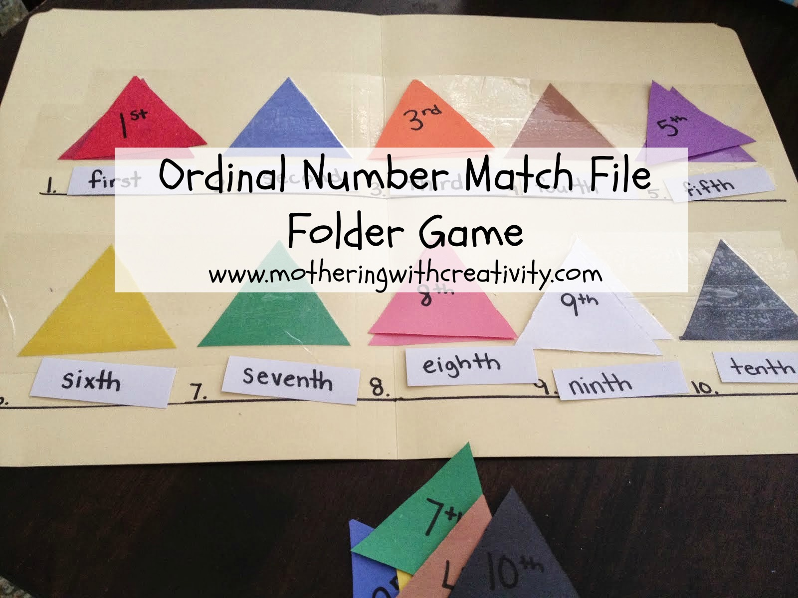 Mothering With Creativity Ordinal Number Match File Folder