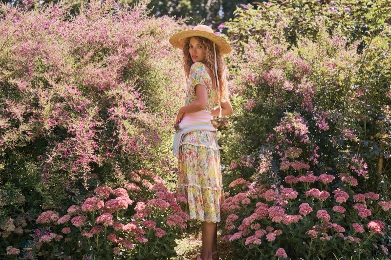Tanya Kizko poses for LoveShackFancy spring 2021 lookbook.