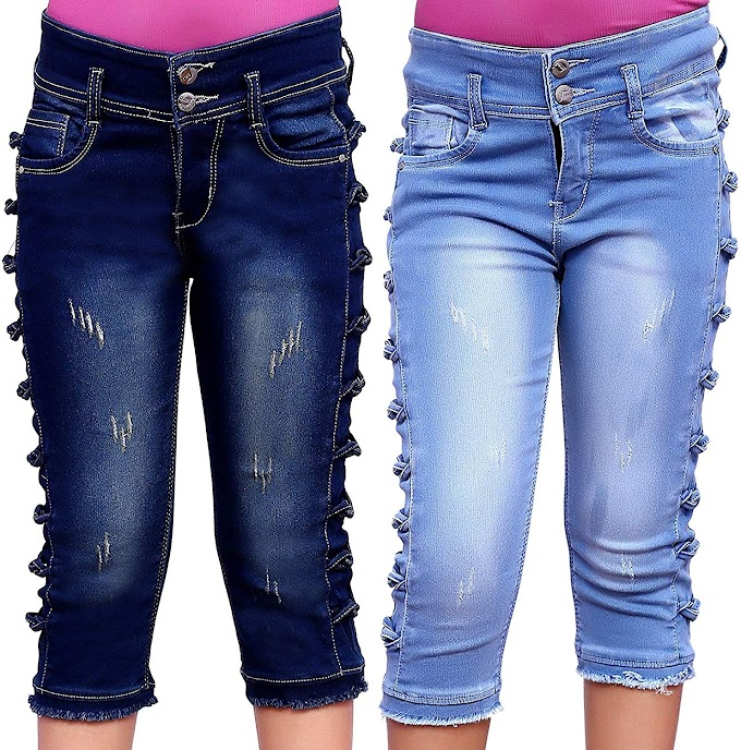 Girls Kids Casual WEAR Slim FIT Denim Capri (Combo of 2)