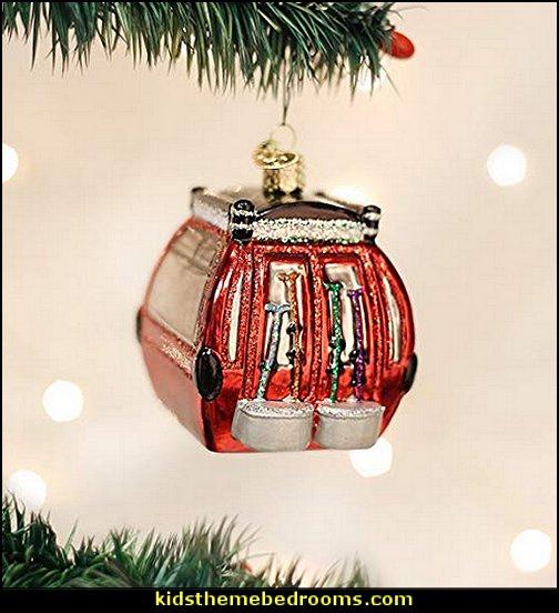 Old World Christmas Ski Gondola Glass Blown Ornament