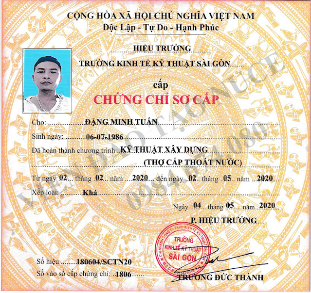 chung chi nghe cap thoat nuoc tho cap thoat nuoc