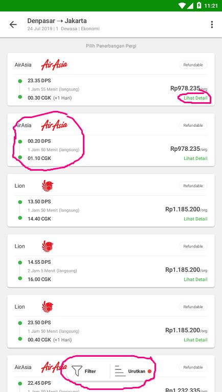 Memilih Tiket Pesawat di Aplikasi Marketplace Tokopedia.