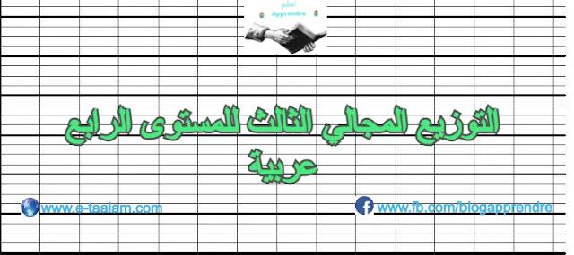 التوزيع المجالي الثالث للمستوى الرابع ابتدائي عربية 2020/2021