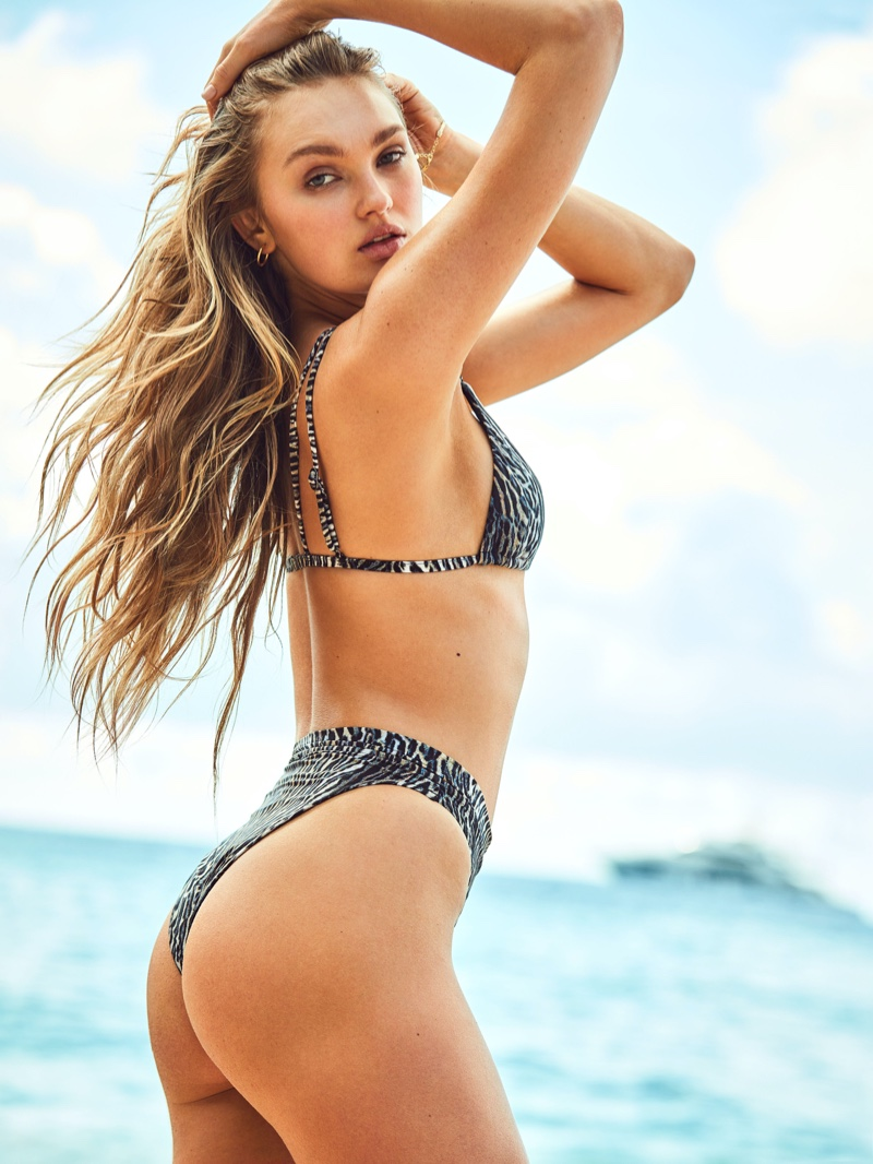 Romee Strijd turns up the heat as she models latest Victoria's Secret Swim designs