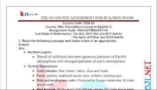 IGNOU BCA 1st SEMESTER FEG-02 Solved Assignment 2017-18