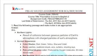 FEG-02 SOLVED ASSIGNMENT FOR IGNOU BCA BCOM AND BDP 2017-18 SESSION