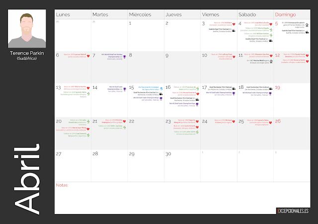 Calendario Excepcionales Abril 2020