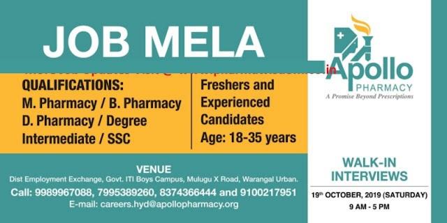 Apollo Pharmacy - Mega Job Mela for Freshers and  Experienced Candidates on 19th Oct' 2019