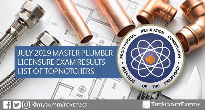 RESULT: July 2019 Master Plumber board exam top 10 passers