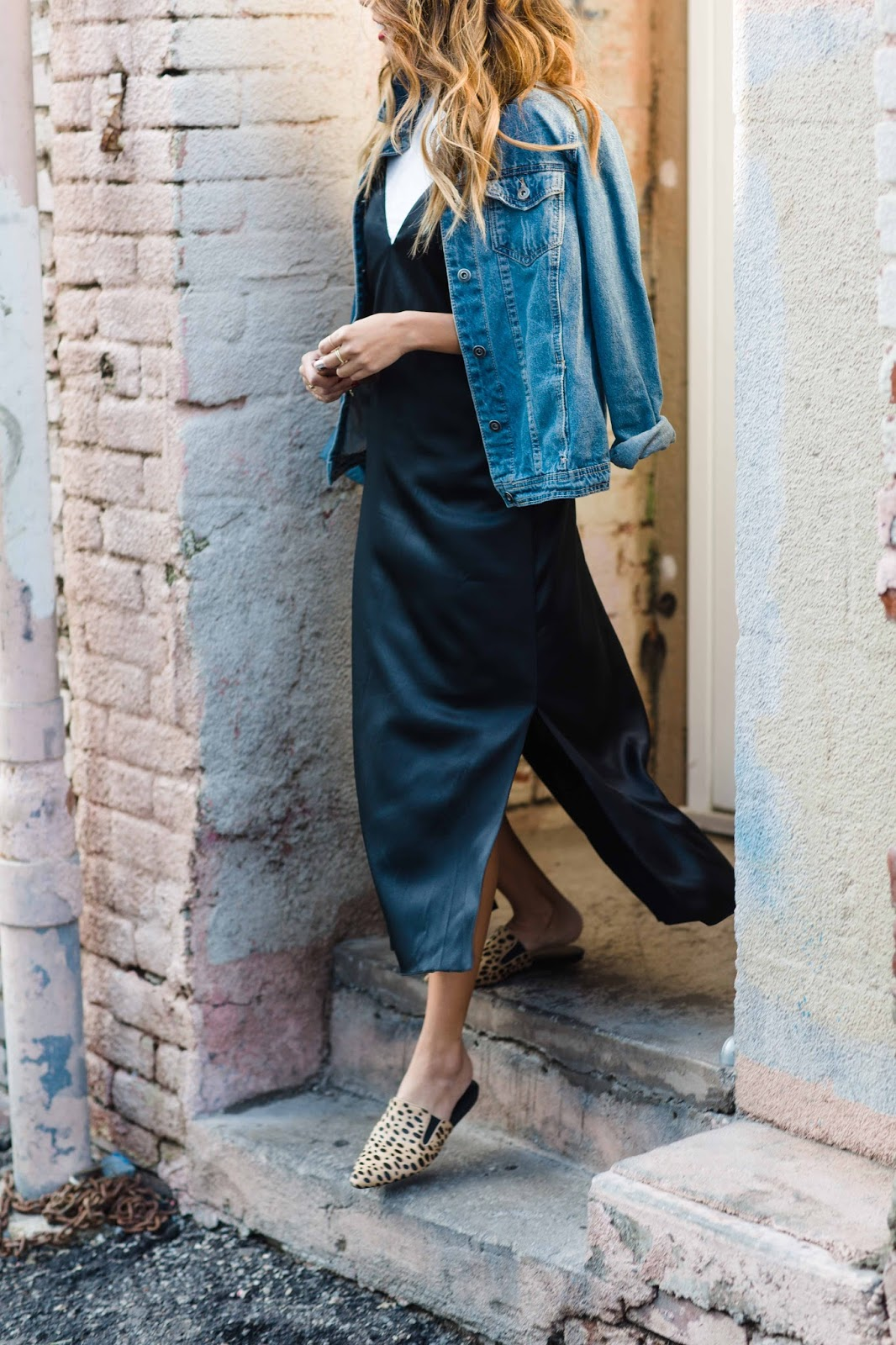how to wear a slip dress, casual slip dress outfit, how to wear slides