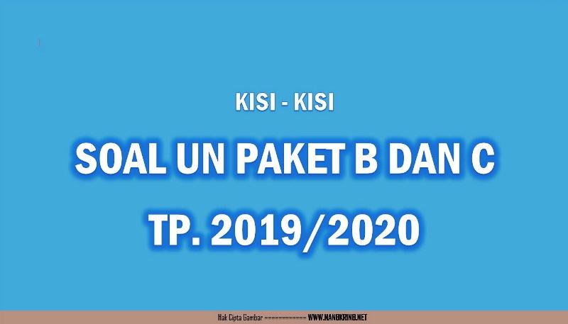 Unduh Kisi-kisi UN Paket B dan C Tahun 2020