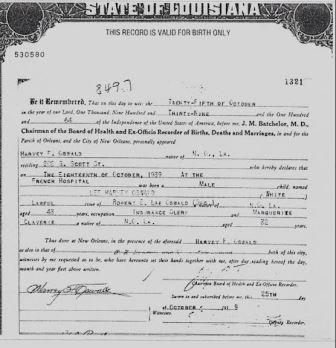 The truth about oswalds birth certificate w tracy parnell i decided to take matters into my own hands on january 11 2017 i contacted the state registrar vital records which is under the louisiana department yadclub