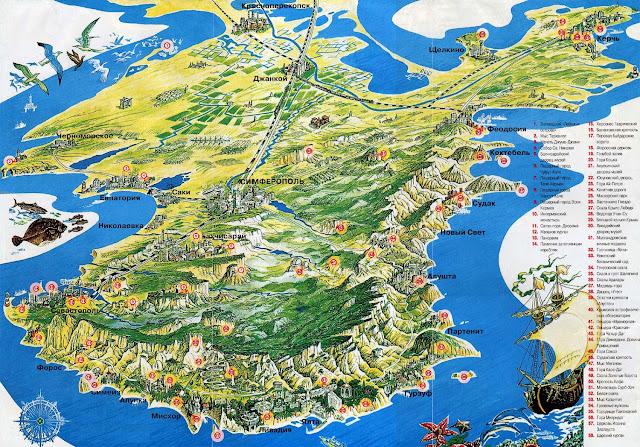 Крым подробная карта достопримечательностей