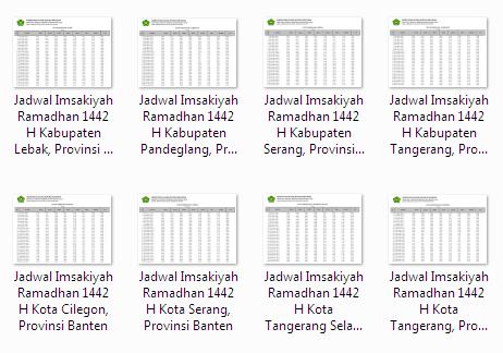 Kumpulan Jadwal Imsakiyah Ramadhan 1442 H Seluruh Kabupaten/Kota di Provinsi Banten