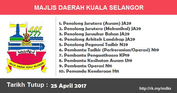 Jawatan Kosong di Majlis Daerah Kuala Selangor (MDKS)