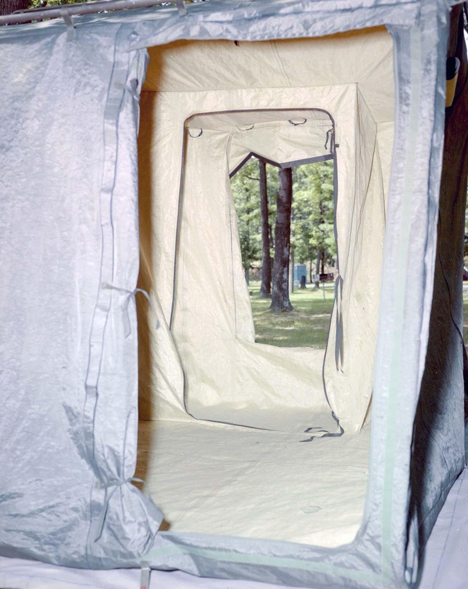 Demo tent, 1985.