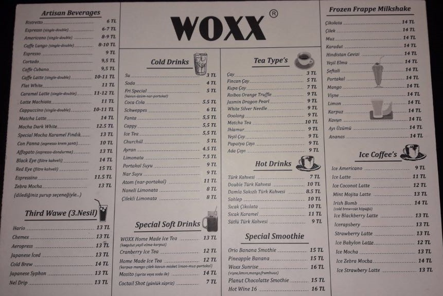 woxx cafe bistro sancaktepe istanbul menu fiyat