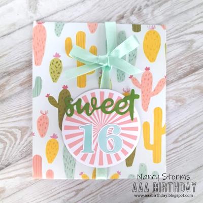 Sweet 16 gift card holder for a girl