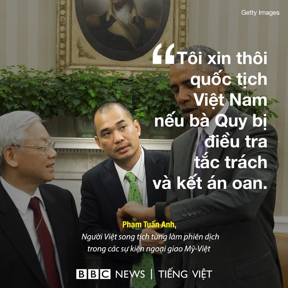 Xin thôi quốc tịch Việt Nam nếu bà Quy vụ bé trai Gateway bị xử oan