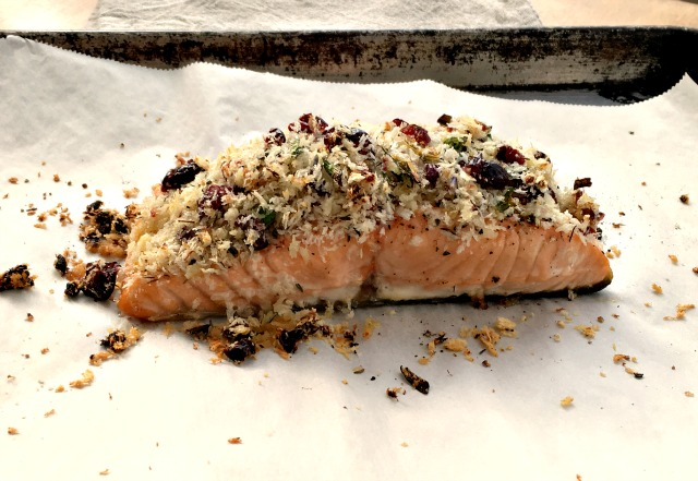 Baked Salmon with Cranberry Thyme Crust