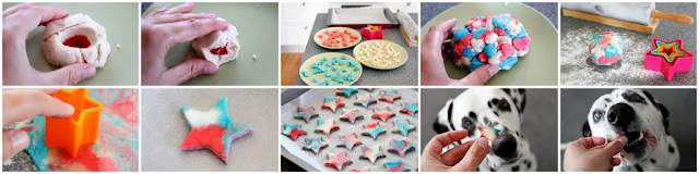 DIY red white and blue dog treats shaped like stars, step-by-step how to amke