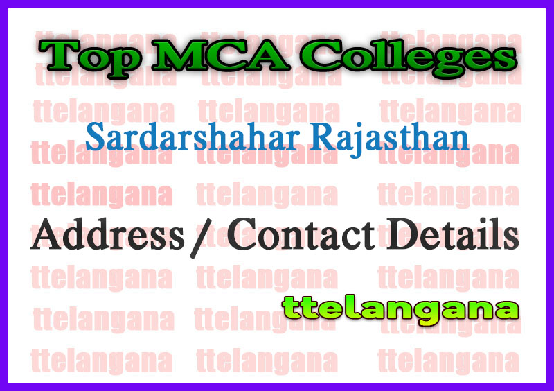 Top MCA Colleges in Sardarshahar Rajasthan