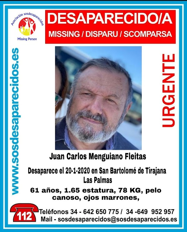 Juan Carlos Menguiano, desaparecido San Bartolomé de Tirajana