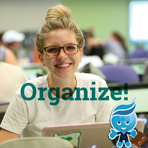 Image of a young female student smiling at the camera.  Splash, dressed as an executive, carrying a brief case in foreground.  Text: Organize!
