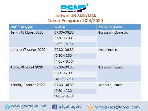 Jadwal UN SMK Tahun 2020