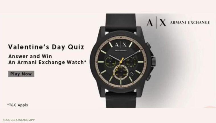 Amazon Valentine's Day Quiz Answers, February 16: Answer And Win Armani Watch