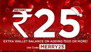 Mobikwik Christmas Offer - Get Rs.25 Cashback on Adding Rs.500 In Mobikwik Wallet