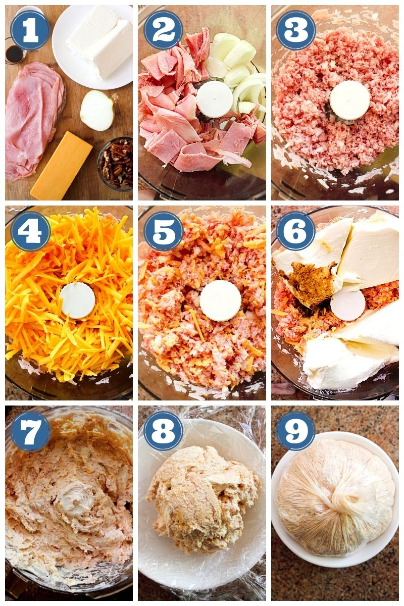 Collage of step-by-step images showing a Ham and Cheddar Cheese Ball being made.