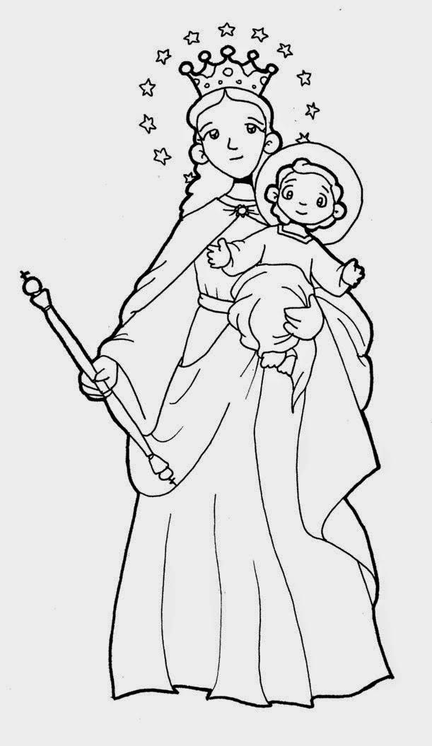 La Virgen Maria Auxiliadora Para on Jesus Para Colorear
