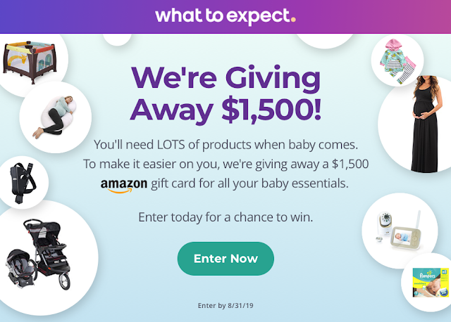 What To Expect knows you need a lot of products when a new baby comes so they're giving away a $1500 Amazon Gift Card for all your baby's needs!
