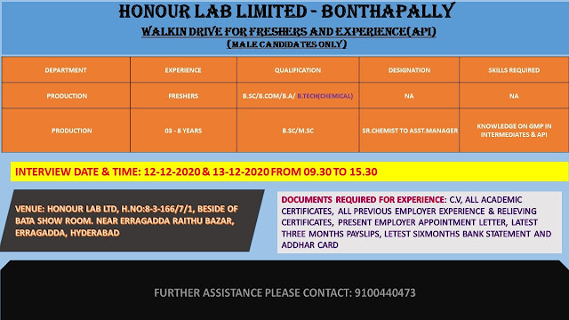HONOUR LAB LIMITED WalkIn Drive for Freshers and Experienced Candidates on 12th and 13th Dec 2020