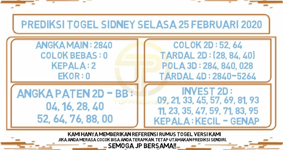 Prediksi Togel JP Sidney 25 Februari 2020 - Prediksi Togel JP