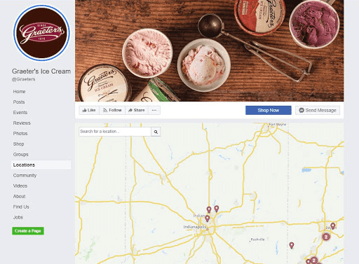 Graeters ice cream locations on Facebook