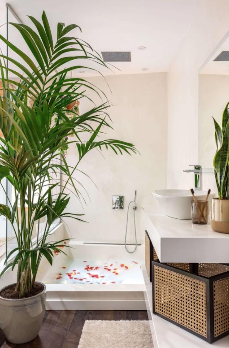 Baño con decoración tropical: con plantas muy grandes y detalles decorativos con celosías.