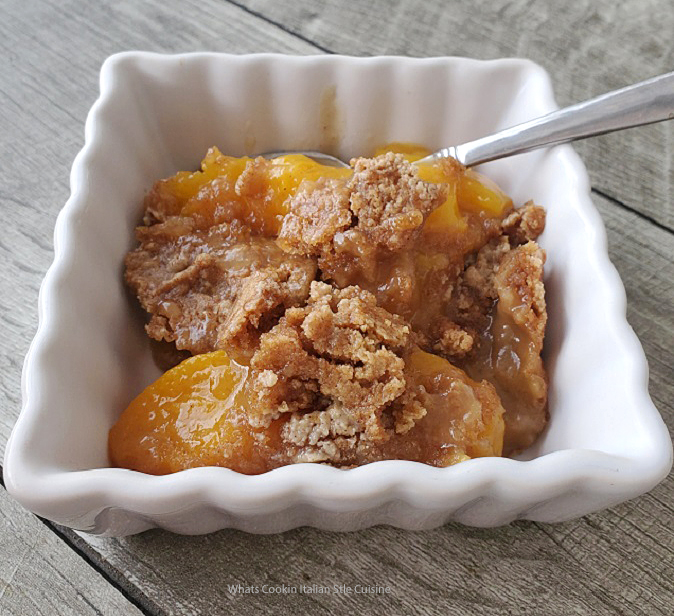 this is peach cobbler made with a cake mix
