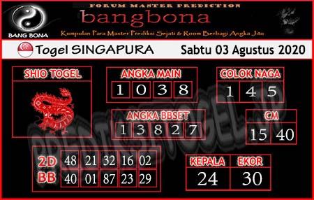 Prediksi Togel Bangbona Singapura Senin 03 Agustus 2020