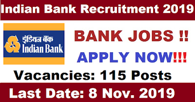 ndian Bank 115 Security Guard Vacancy 2019