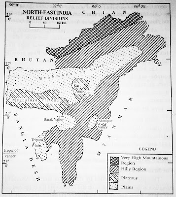 Northeast India Physiography Division Map