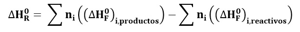 Ecuación de calor de formación en balance de energía con reacciones químicas