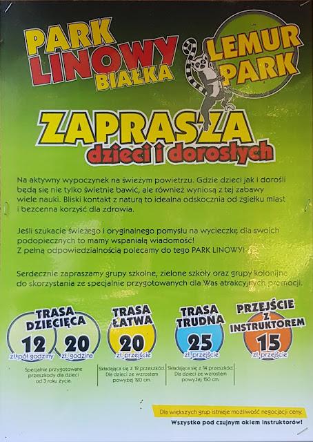 Park linowy lemur park białka cennik