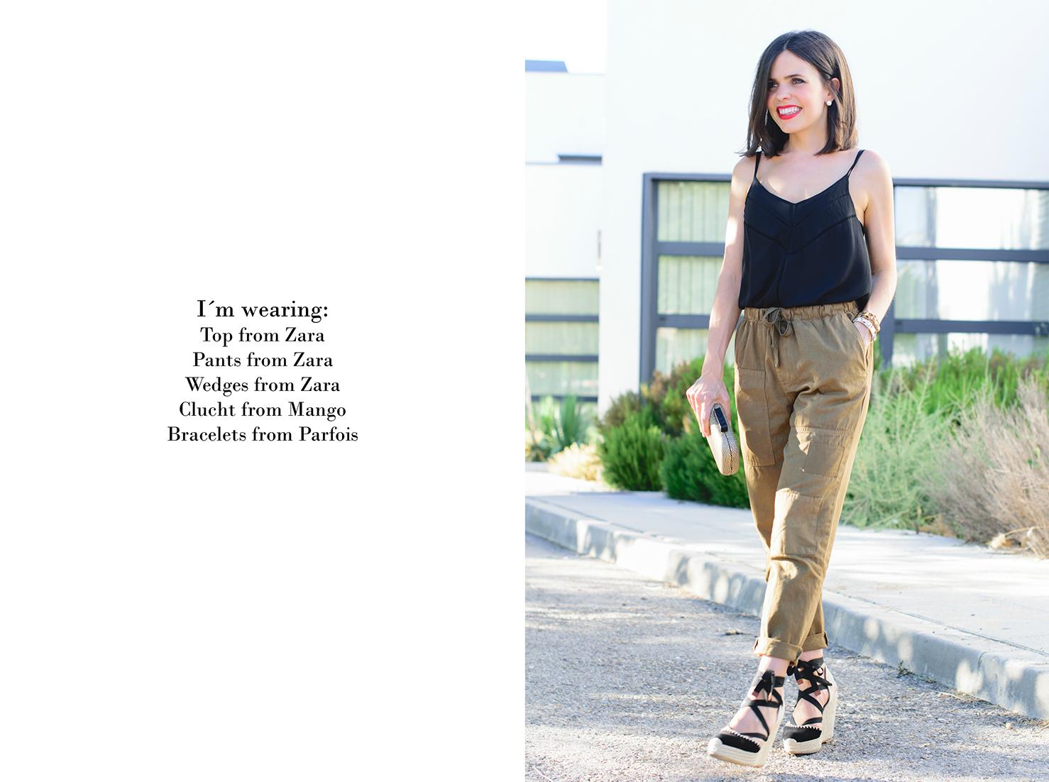 Look con pantalones baggy y cuñas de Zara