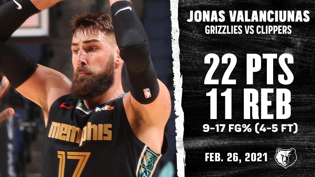Jonas Valanciunas 22pts 11reb vs LAC | February 26, 2021 | 2020-21 NBA Season